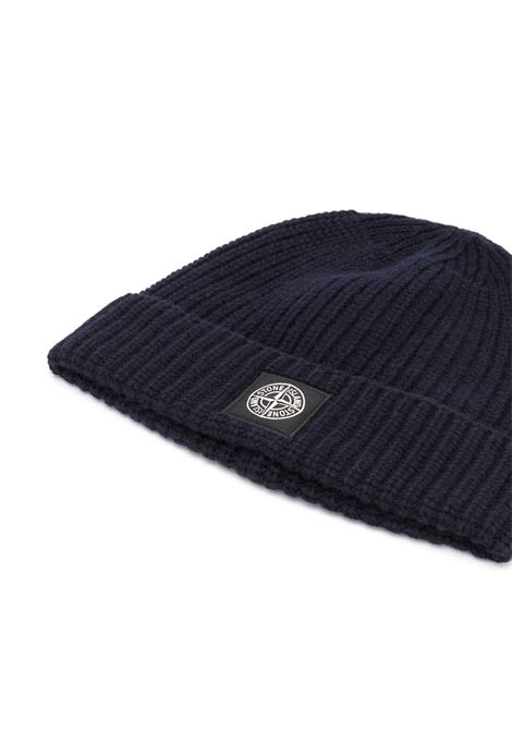 Navy blue wool beanie hat featuring ribbed knit STONE ISLAND |  | 7315N10B5V0020