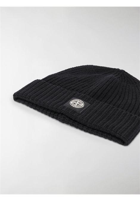 Berretto in lana nero con lavorazione a coste STONE ISLAND | Cappelli | 7315N10B5V0029