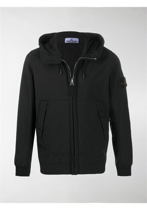 Black hooded jacket from featuring Stone Island compass logo patch at the sleeve STONE ISLAND |  | 7315Q0122V0029