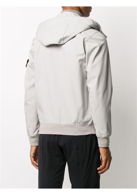 Giacca softshell con cappuccio grigio chiaro con cappuccio con coulisse STONE ISLAND   Giubbini   7315Q0122V0092