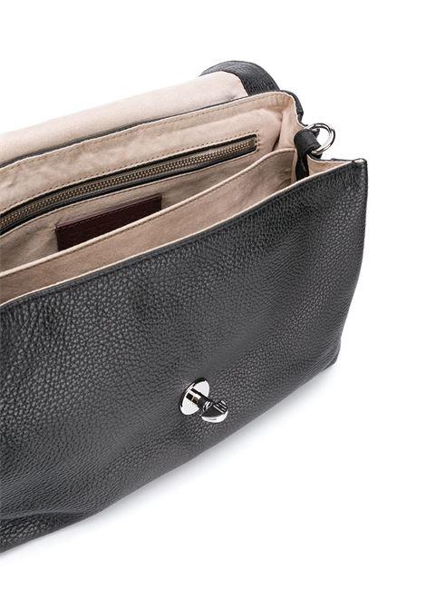 borsa media Postina in pelle nera con dettagli in metallo argentato Zanellato | Borse a tracolla | 6120-1802
