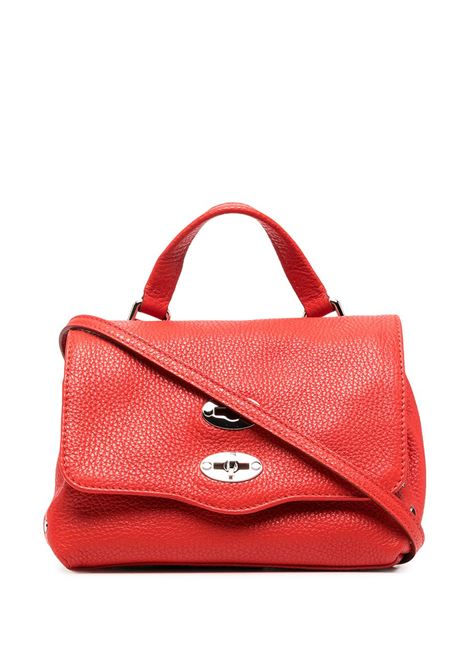 Red leather stud-embellished Postina tote featuring grained texture Zanellato |  | 6262-1837
