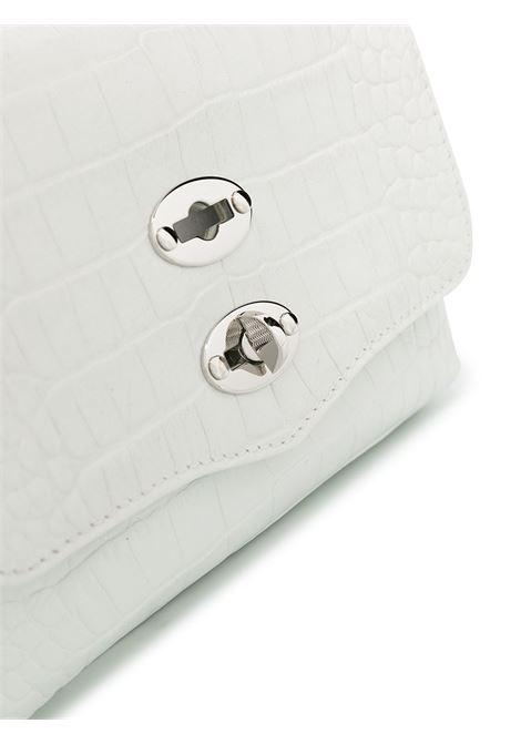 baby Postina bianca in pelle di vitello effetto coccodrillo con dettagli in metallo argentato Zanellato | Borse a tracolla | 6262-CC09