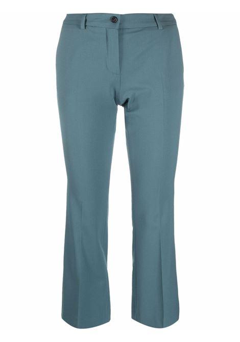 Teal-blue wool cropped tailored trousers ALBERTO BIANI |  | CC815-WO024182