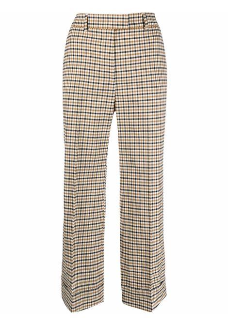 Beige and black virgin wool check pattern cropped trousers ALBERTO BIANI      CC842-WO215364
