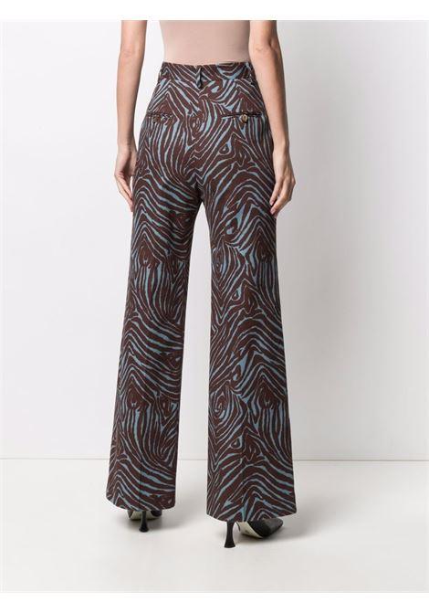Pantaloni blu e marrone a vita alta in cotone in stampa zebrata ALBERTO BIANI | Pantaloni | CC877-CO306982