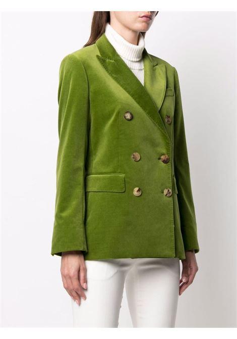 Blazer doppiopetto verde in cotone e velluto ALBERTO BIANI | Giacche | II821-CO022376