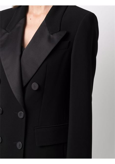Black cotton satin-trim double-breasted blazer  ALBERTO BIANI |  | IV866-AC003090
