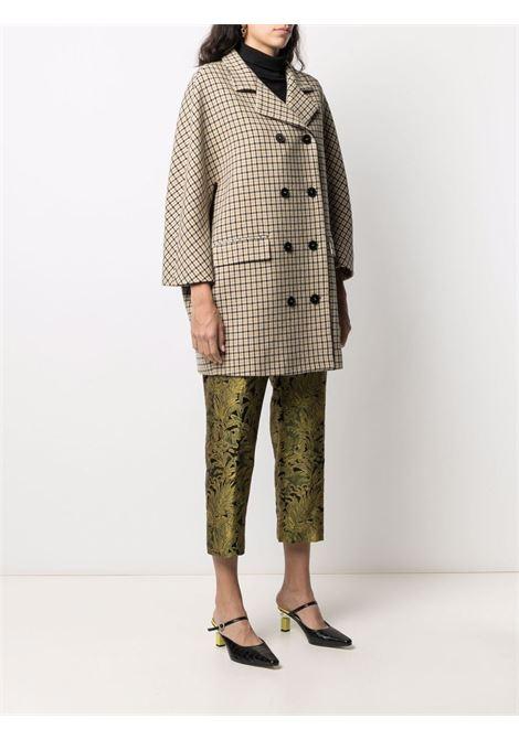 Cappotto doppiopetto in lana vergine pied de poule beige e nero ALBERTO BIANI   Cappotti   OO868-WO215264