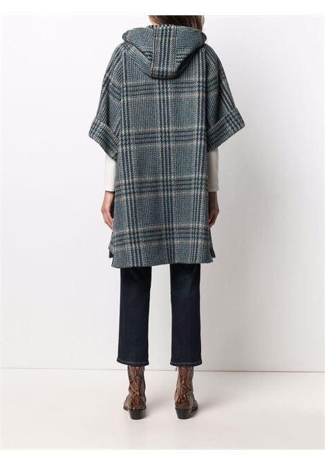 Blue and brown wool short-sleeved check coat  ALBERTO BIANI |  | OO875-WO215682
