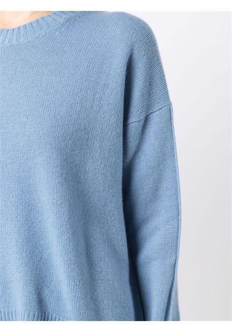 Maglia girocollo in cashmere azzurro con finiture a costine ALLUDE | Maglieria | 215/1115112