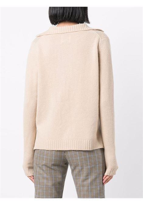 Maglia in cashmere beige con scollo a V ALLUDE | Polo | 215/1115542