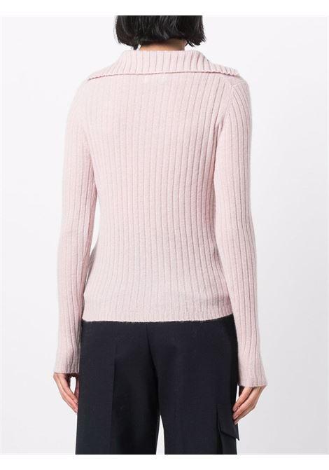 light pink cachemere ribbed-knit V-neck jumper  ALLUDE |  | 215/1118461