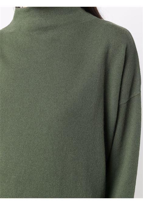 Maglia verde militare in lana vergine e cashmere ALLUDE | Maglieria | 215/1700436