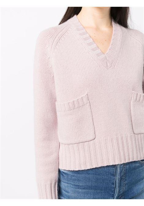 Maglia rosa in cashmere e lana vergine con tasche a marsupio ALLUDE | Maglieria | 215/1764661