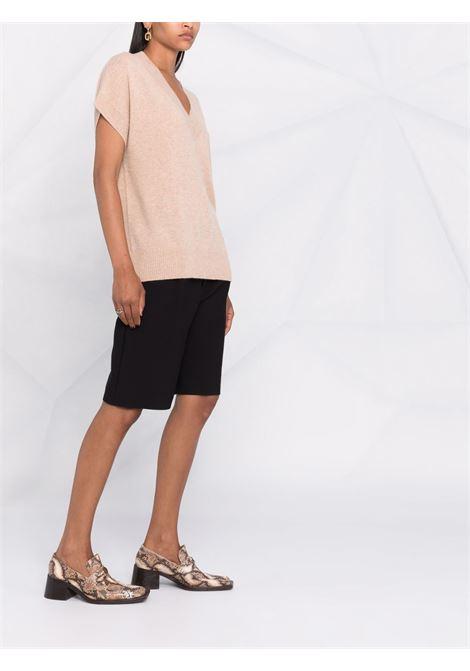 Maglia a maniche corte in cashmere color rosa ALLUDE   Maglieria   215/60012643