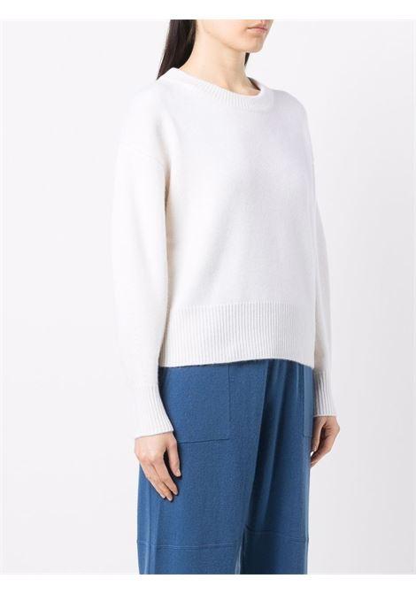 maglia a coste in cashmere bianco con scollo tondo ALLUDE | Maglieria | 215/60608640
