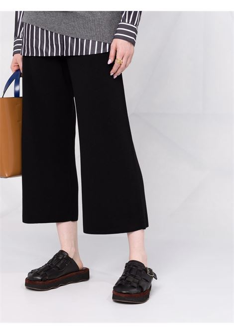 Pantaloni neri cropped a gamba ampia in lana vergine ALLUDE | Pantaloni | 215/64004490