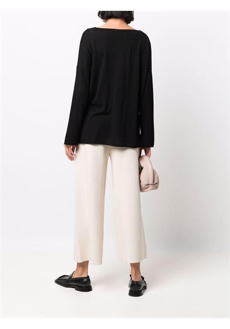 Maglia nera in lana vergine con scollo a barca ALLUDE | Maglieria | 215/64032490