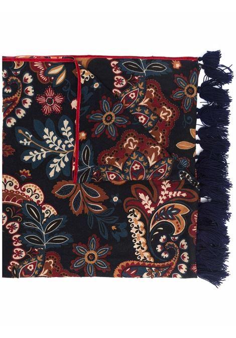 Sciarpa blu navy in lana 70x180 in stampa floreale all-over ALTEA | Sciarpe e foulards | 216040101