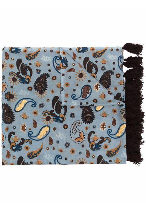 Sciarpa blu 70x180 in lana stampa paisley con bordo rifinito con nappe ALTEA | Sciarpe e foulards | 216043603