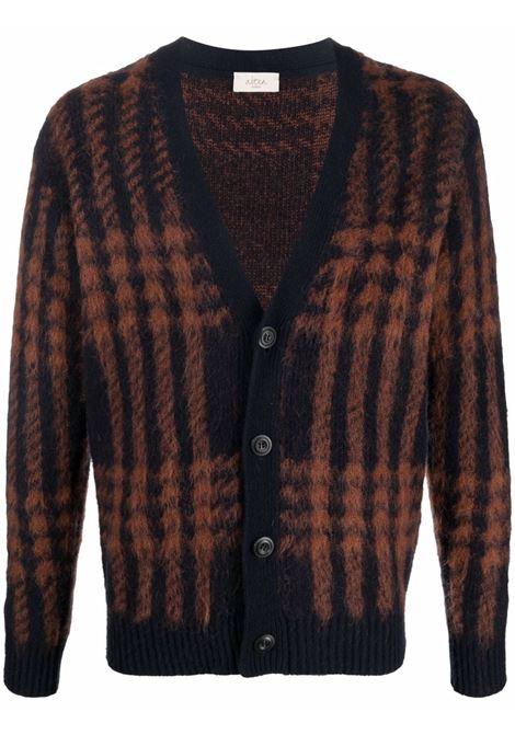 Brown virgin and mohair woo plaid-check knit cardigan ALTEA |  | 216102001