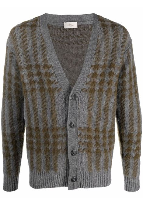 Grey virgin and mohair wool plaid-check knit cardigan  ALTEA |  | 216102022