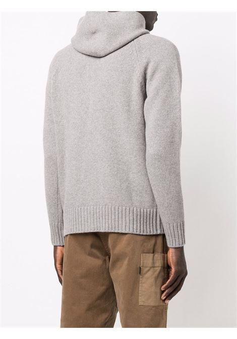 Grey virgin wool knitted zip-up hoodie  ALTEA |  | 216105823