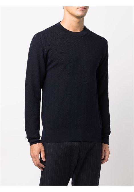 Maglione girocollo a spina di pesce in lana vergine blu navy ALTEA | Maglieria | 216111601