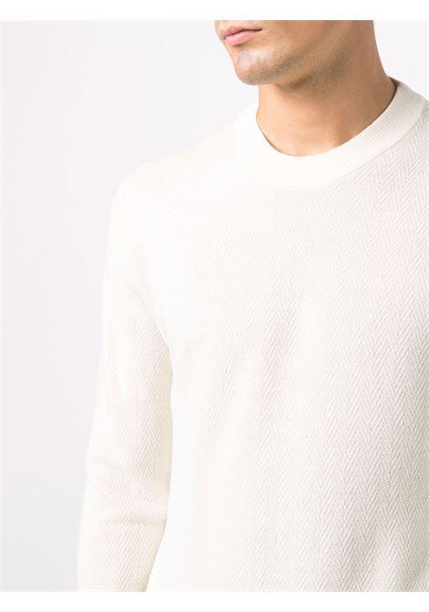 Maglione girocollo a spina di pesce in lana vergine bianca ALTEA | Maglieria | 216111628