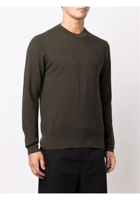 Maglione girocollo in lana vergine verde militare a spina di pesce ALTEA | Maglieria | 216111645