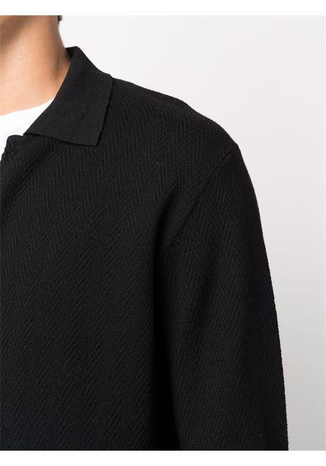 Cardigan nero in lana vergine con lavorazione a spina di pesce ALTEA | Cardigan | 216111790