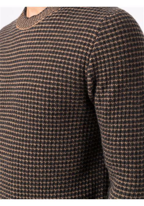Maglione marrone in lana vergine e cashmere lavorato a nido d'ape ALTEA | Maglieria | 216122189