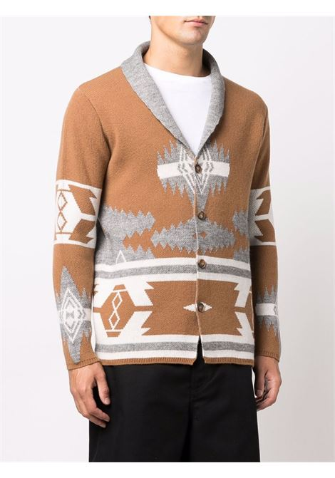 Brown and grey virgin wool intarsia-knit cardigan  ALTEA |  | 216126434