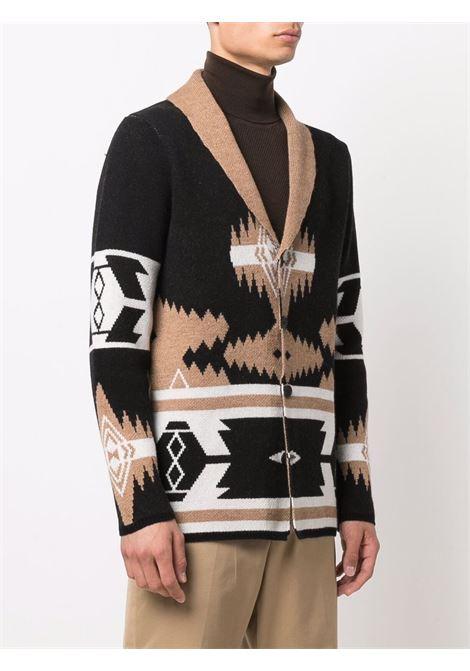 Cardigan nero bianco e marrone in lana con fantasia geometrica ALTEA | Giacche | 216126490