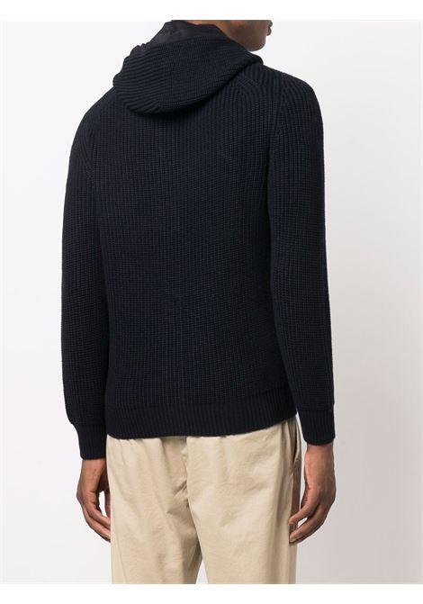 Maglione blu navy in lana vergine con cappuccio in maglia grossa ALTEA | Cardigan | 216127101