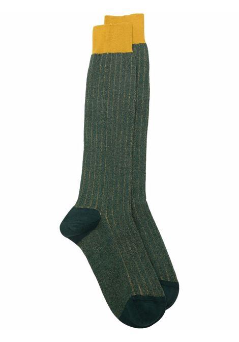 Calzini in maglia a coste in cotone elasticizzato verde e giallo ALTEA | Calze | 216800202
