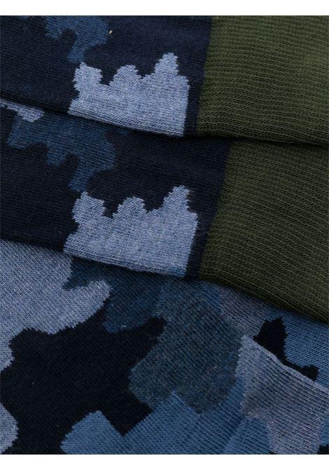 Calzini alla caviglia in cotone stretch blu e verde camouflage ALTEA | Calze | 216801401