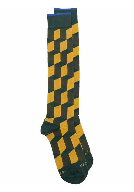 calzini gialli e verdi di misto cotone stretch in fantasia geometrica ALTEA | Calze | 216801904