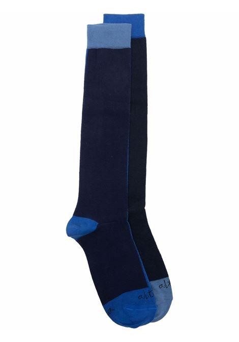 calzini neri alla caviglia in cotone con design color block blu ALTEA | Calze | 216802001