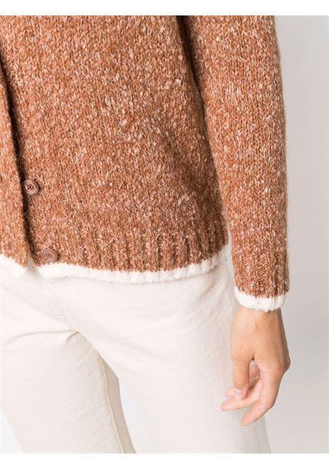Cardigan in maglia di lana e cotone alpaca marrone con bottoni ASPESI | Cardigan | 5096-406501224