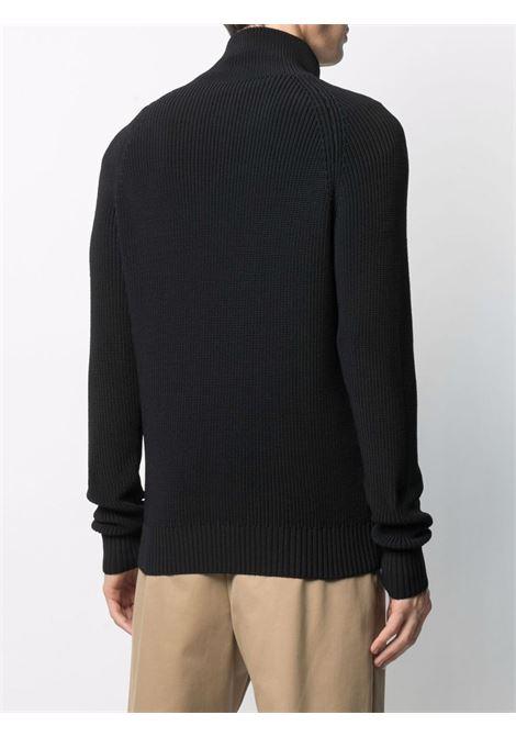 Navy blue purl-knit zipped cardigan  ASPESI |  | M400-416601241