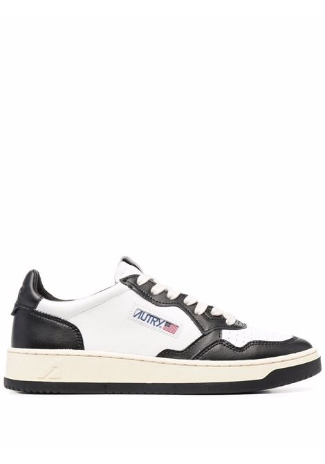 Black and white leather low-top sneakers Autry logo patch AUTRY |  | AULM-WB01BIANCO-NERO