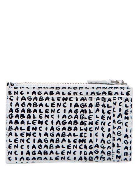 Small wallet in white calfskin with all-over felt-tip Balenciaga logo  BALENCIAGA |  | 640535-1WVG39188