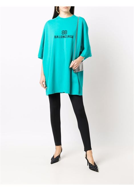 Blue cotton crew-neck T-shirt featuring black Balenciaga logo  BALENCIAGA |  | 651795-TKVF53660