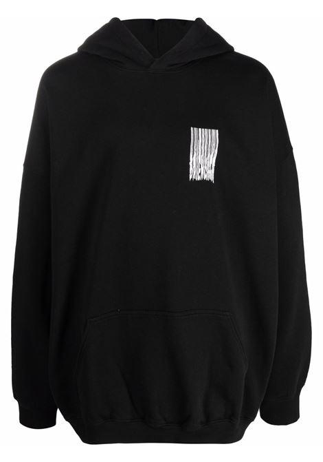 Felpa oversize nera con logo Shining sul petto e sulle spalle BALENCIAGA | Felpe | 651799-TKVE61070