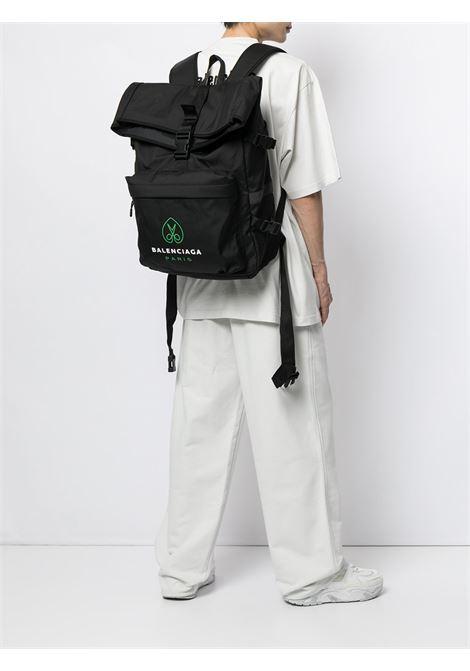 Black backpack featuring green and white Balenciaga logo print  BALENCIAGA |  | 658104-2VZ551069