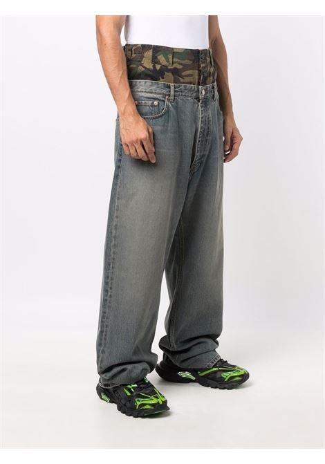 Dark brown and blue cotton layered wide-leg jeans  BALENCIAGA |  | 661609-TJW572500