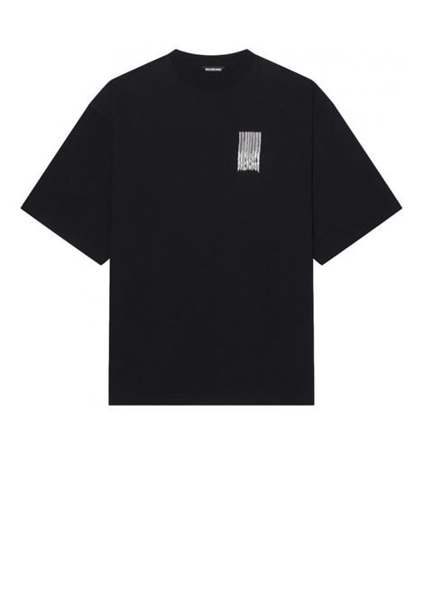 Black jersey cotton T.shirt with Shining logo on chest and shoulders BALENCIAGA |  | 661705-TKVE51070