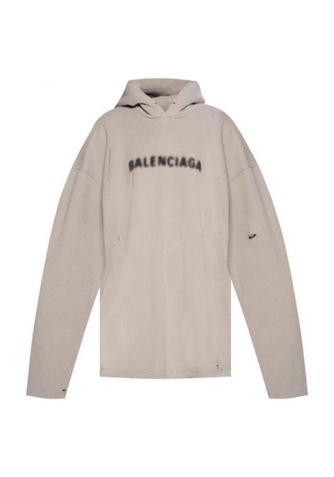 felpa in cotone grigia con cappuccio e logo Balenciaga nero blurred BALENCIAGA | Felpe | 661711-TKVD68174